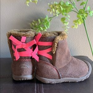Child of Mine, boots with pink bows and faux fur